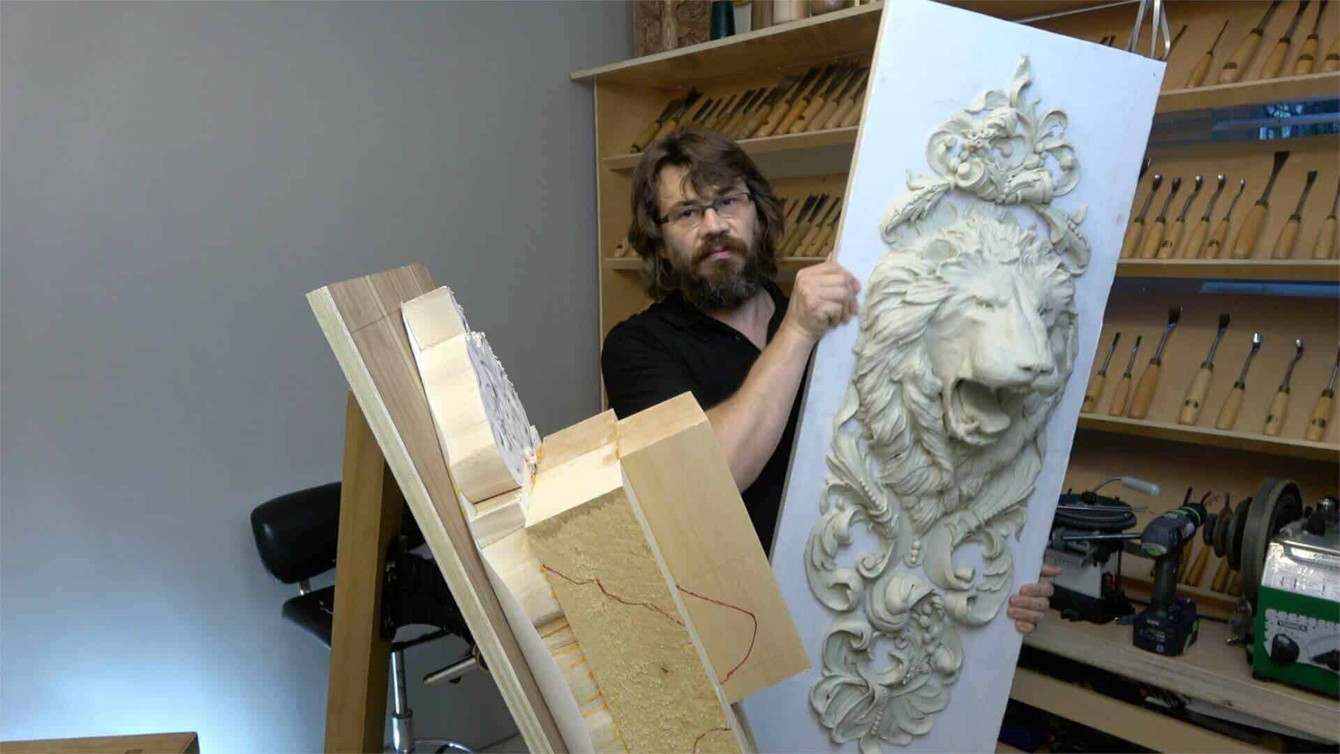 Learn how to cave Lion Head in Wood. Wood Carving School